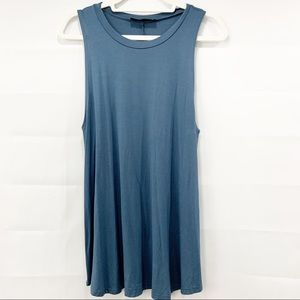 Audrey 3+1 Blue Flowy Tunic Tank Top | Large